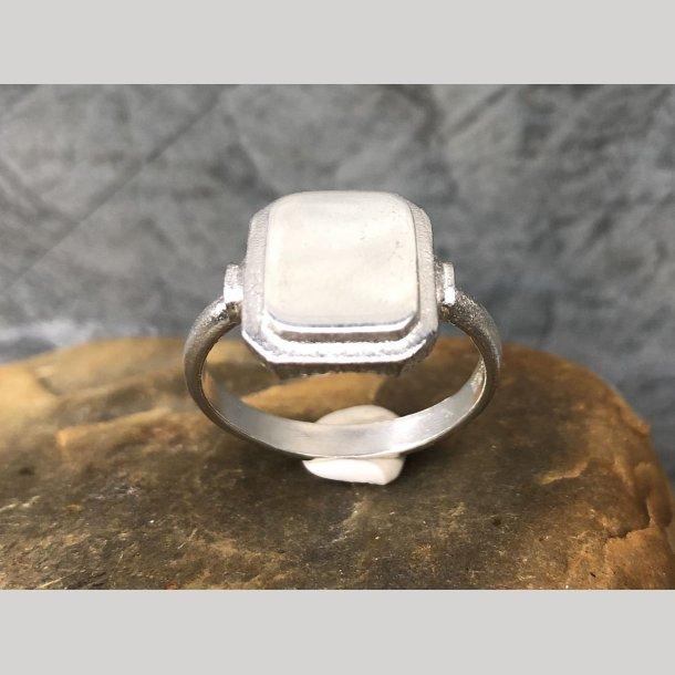 Signet ring i sølv firkantet model