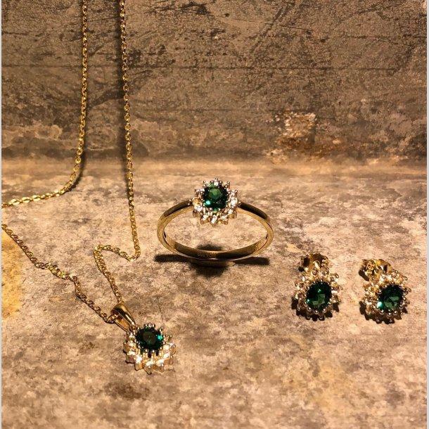 Rosetøreringe i 8 krt guld med syntetisk smaragd og hvide zirkoner