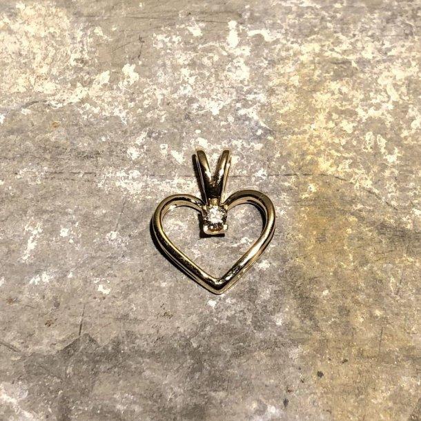 Hjertevedhæng i 14 krt guld med brillant, Kleopatra