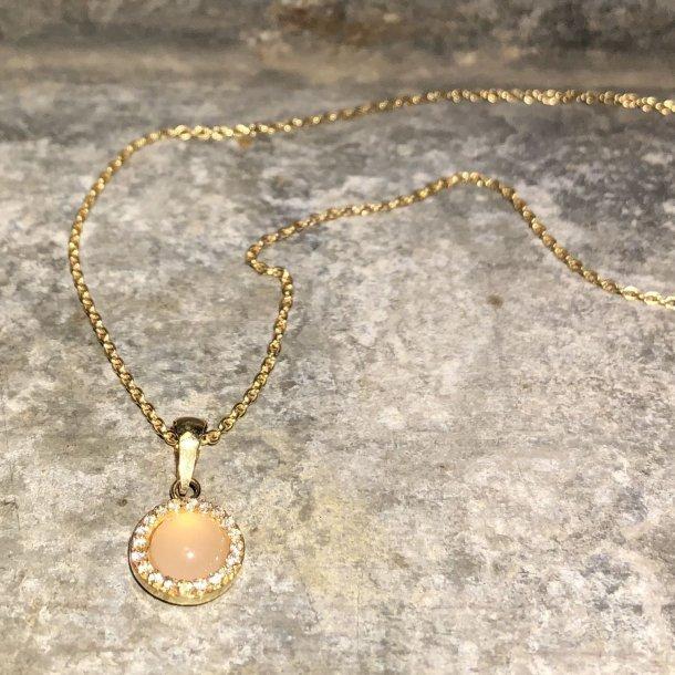 Vedhæng i 8 krt guld med rosa quartz